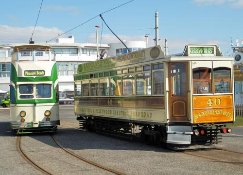 Blackpool Heritage Trams on the Pleasure Beach Loop.