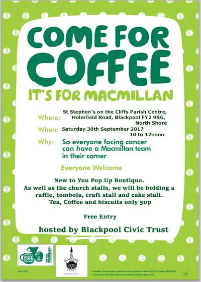 Macmillan Cancer Support Coffee Morning Blackpool Civic Trust