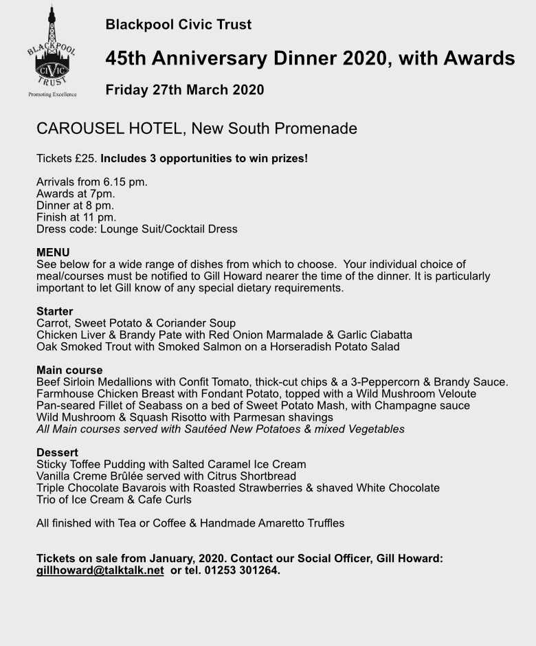 Blackpool Civic Trust Dinner and Awards 27th March 2020