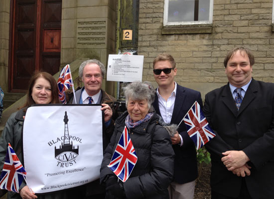 Blackpool Civic Trust members who joined the Lancashire community walk watched by the Queen.