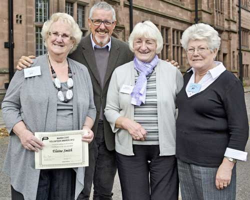 Civic Voice Awards and AGM October 2012 Elaine, Betty, Jean with Griff Rhys Jones