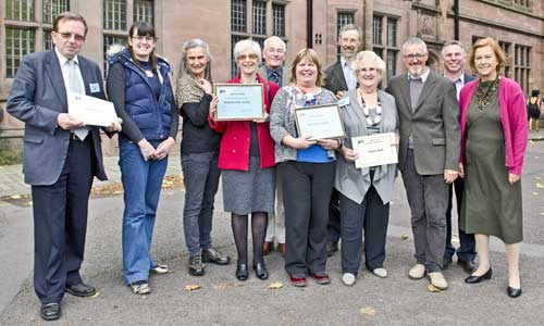 Civic Voice Awards and AGM October 2012 Elaine and other prize winners with Griff Rhys Jones and Paula Ridley