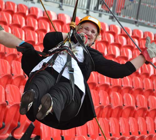 Blackpool Civic Trust Chairman Elaine Smith flying over the Wembley pitch