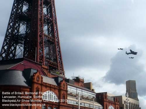 Battle of Britain Memorial Flight passing Blackpool Tower 2013