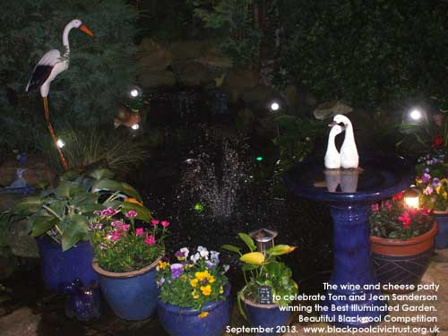 Tom and Jean Sanderson won the Best Illuminated Garden at the Beautiful Blackpool 2013 Competition