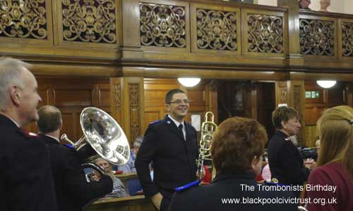 Blackpool Civic Trust Christmas 2013.  The Salvation Army Brass Band with Carol Singing, the trombonists birthday