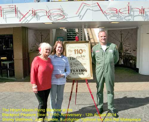 Blackpool Civic Trust attend the Hiram Maxim Flyng Machine 110th birthday at Blackpool Pleasure Beach
