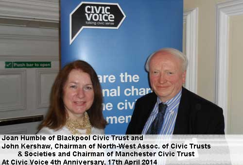 Joan Humble with John Kershaw, Chairman of North West Association of Civic Trusts and Societies and Chairman of Manchester Civic Trust.