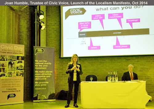 Joan Humble, Trustee of Civic Voice and Chairman of Blackpool Civic Trust speaks at the launch of the Civic Voice manifesto Oct 2014