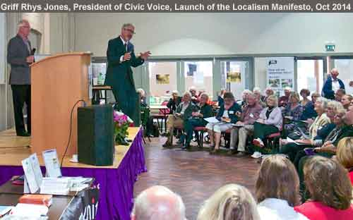Griff Rhys Jones speaking at the launch of the Civic Voice manifesto Oct 2014