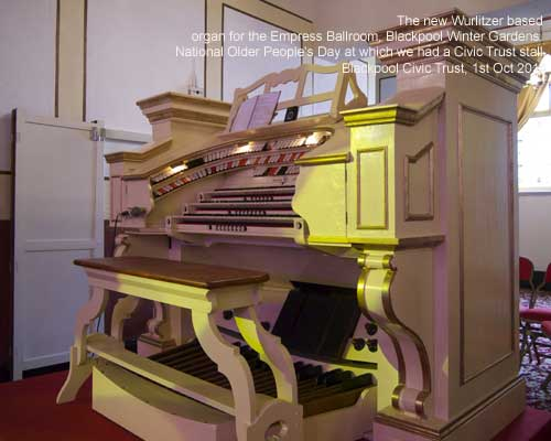 The new Wurlitzer based console for the Empress Ballroom, Blackpool Winter Gardens