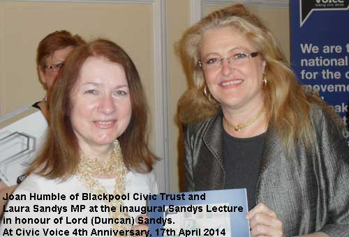 Joan Humble, Chairman of Blackpool Civic Trust with Laura Sandys MP.