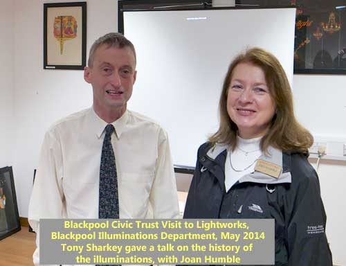 Tony Sharkey with Joan Humble at Blackpool Illuminations Department, Lightworks