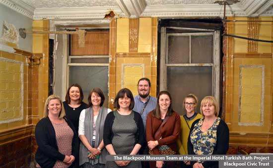 Visit by the Blackpool Museum Team to the Imperial Hotel Turkish Baths project.  Blackpool Civic Trust