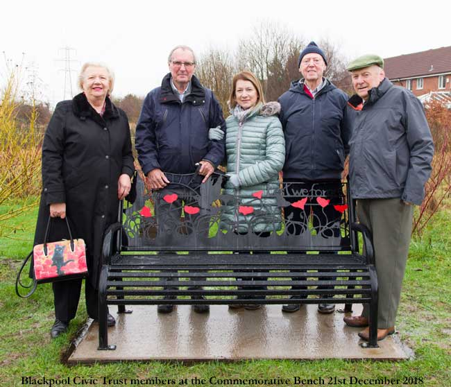 Blackpool Civic Trust members at the Commemorative Bench