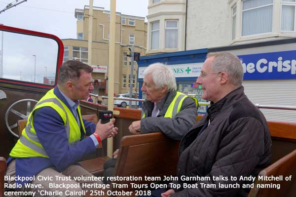 John Garnham of Blackpool Civic Trust being interviewed by Andy Mitchell of Radio Wave. Also Bryan Lindop head of Blackpool Heritage Tram Tours