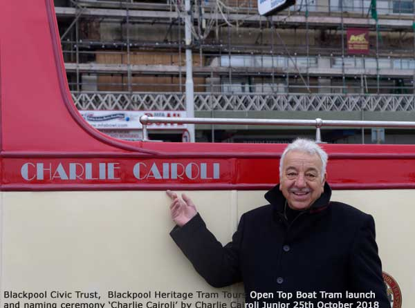 Boat tram 227 being 'launched' and naming ceremony Charlie Cairoli 25th Oct 2018 by Charlie Cairoli Junior
