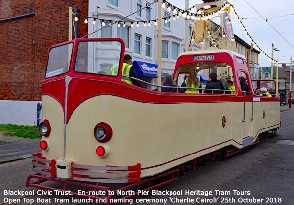 Boat tram 227 being 'launched' and naming ceremony Charlie Cairoli 25th Oct 2018