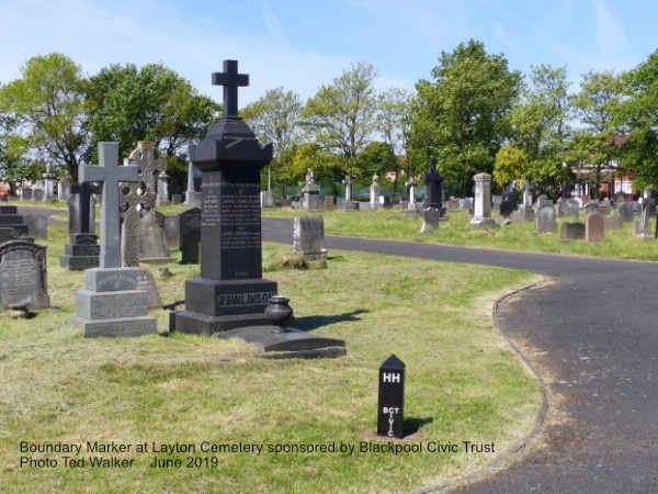 Boundary Marker at Layton Cemetery sponsored by Blackpool Civic Trust