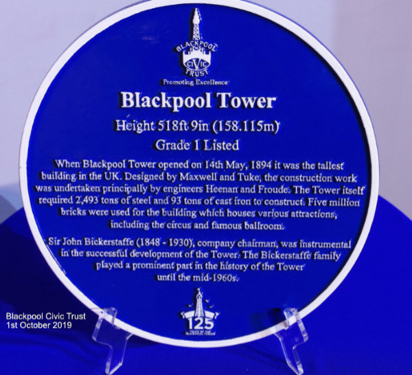 Blackpool Tower Blue Plaque 1st October 2019