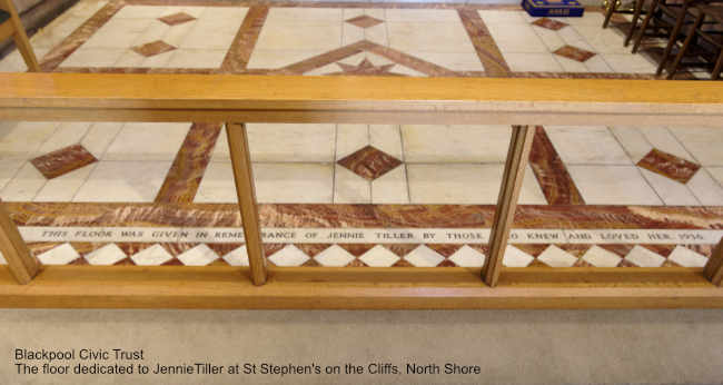The floor dedicated to the Jennie Tiller at St Stephens on the Cliffs, North Shore.  Blackpool Civic Trust monthly meeting on 20th May 2019