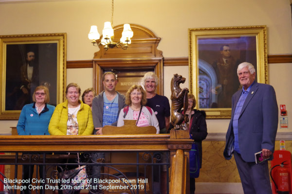Vice-President of Blackpool Civic Trust, Barry Shaw, pictured alongside one of his tour groups on Heritage Open Day at Blackpool Town Hall
