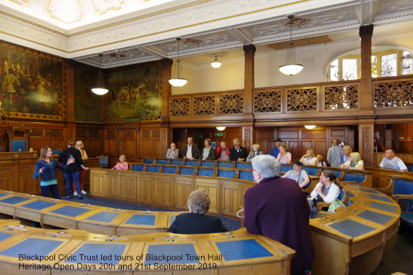 Chair of Blackpool Civic Trust, Joan Humble, speaking to a tour group in the Chamber during a Heritage Open Day tour of Blackpool Town Hall 21st September 2019
