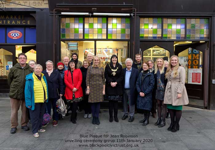 The group photo at the unveiling of the Blue Plaque for Jean Robinson first femail Mayor of Blackpool 1968-9