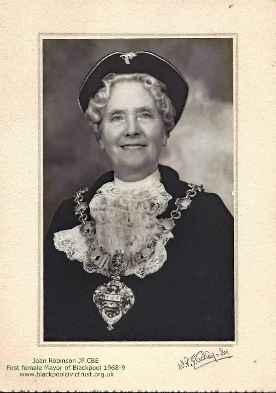 Jean Robinson first femail Mayor of Blackpool 1968-9