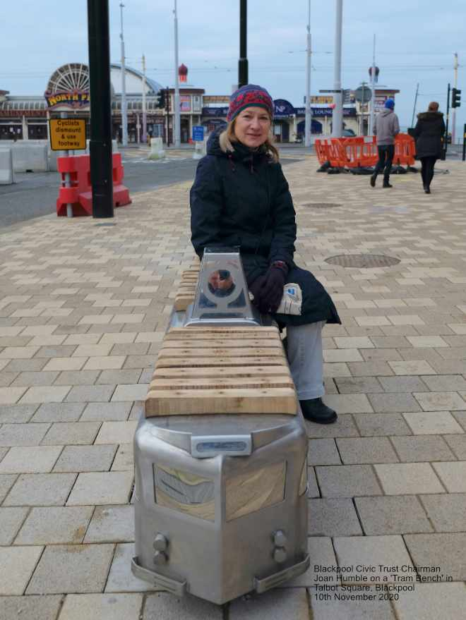 Joan Humble on one of the new tram benches in Talbot Square, Blackpool 10th November 2020