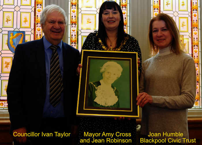 Photo of Jean Robinson held by Mayor of Blackpool Amy Cross.  Left Councillor Ivan Taylor, on the right Joan Humble Chair of Blackpool Civic Trust