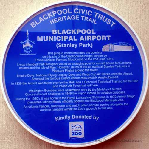 Blackpool Civic Trust, Blue Plaque, Blackpool Municipal Airport was opened in 1931 and closed in 1945. It is now the Zoo.