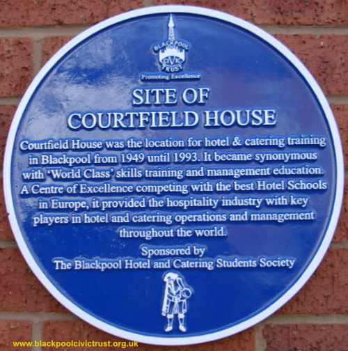 Image of the Blue Plaque for the site of Courtfield House Catering College Blackpool, mounted March 2020
