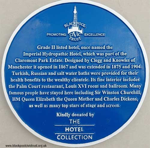Imperial Hotel Blackpool, Blue Plaque