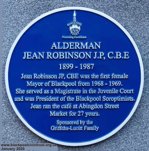 Blue Plaque for Jean Robinson first femail Mayor of Blackpool 1968-9