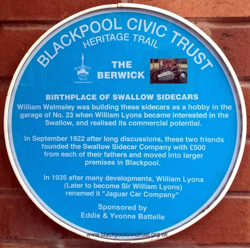 Swallow sidecar blue plaque