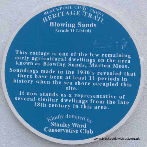 Blackpool Civic Trust, Blue Plaque, Blowing Sands is one of the few original agricultural cottages from the late 18th Century.