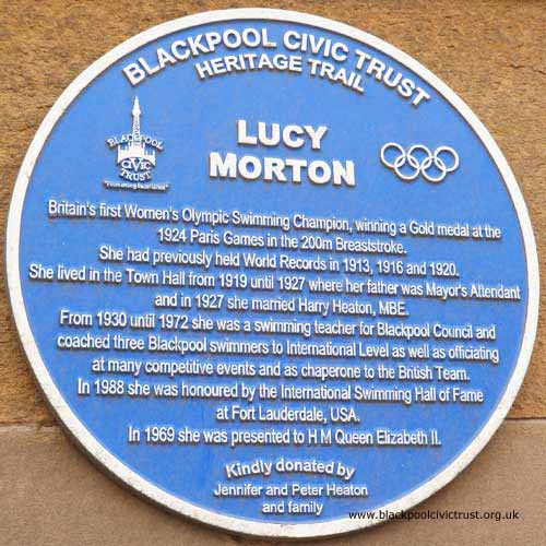 Lucy Morton Blue Plaque at Blackpool Town Hall